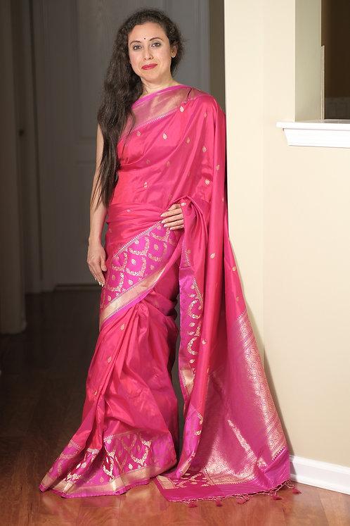 Pure Katan Silk Banarasi Saree in Rose Pink, Hot Pink and Magenta
