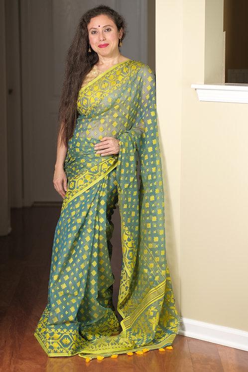 Soft Jamdani Saree in Peacock Green and Yellow