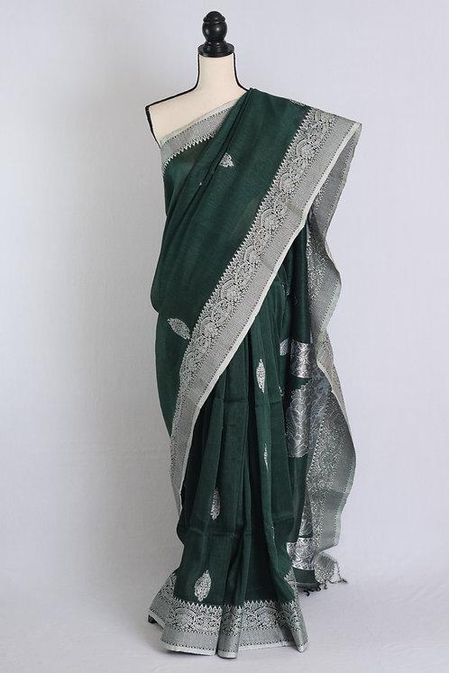Silk Linen Banarasi Saree in Dark Green and Silver