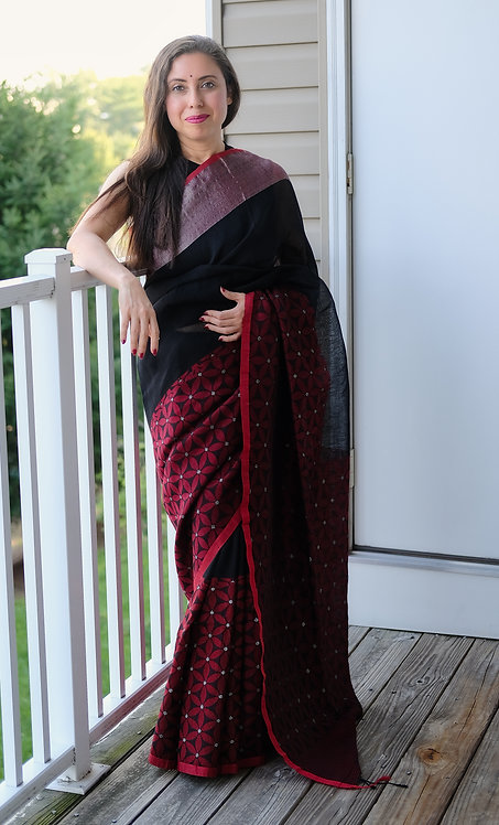 Skirt Border Silk Linen Saree in Black and Red