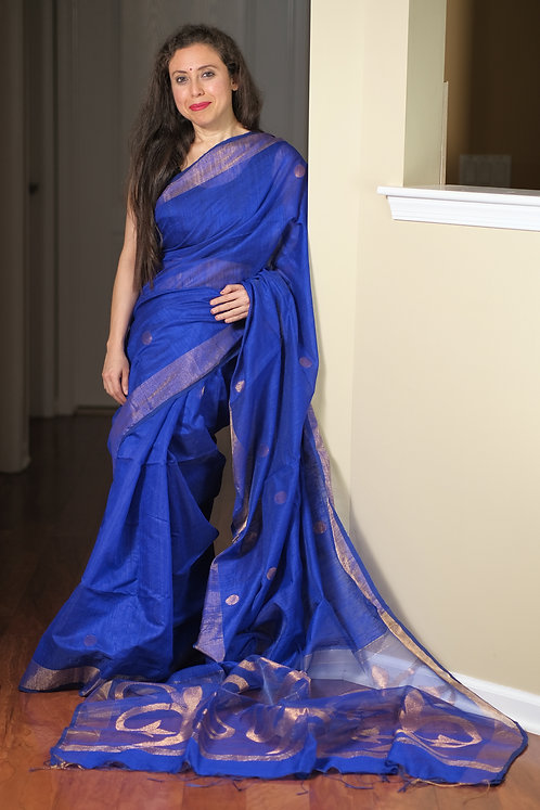 Matka Silk Cotton Saree in Royal Blue and Gold