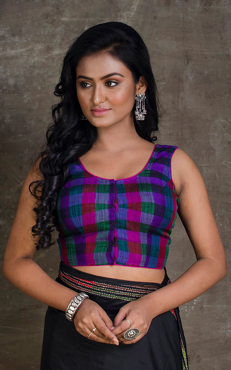 Purple and Magenta Checks Sleeveless Designer Saree Blouse in Size 36