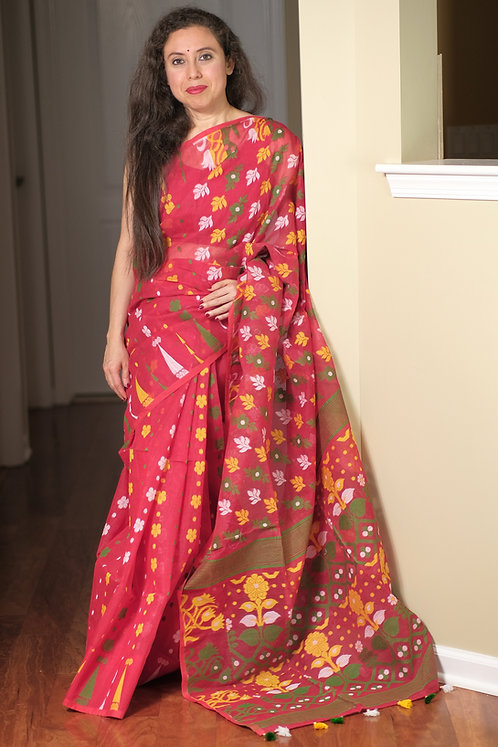Jamdani Saree with Starch in Red and Multi-Color