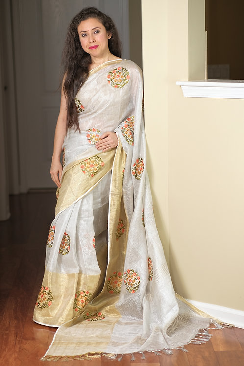 Exclusive Tissue Linen Embroidery Saree in Silver and Gold