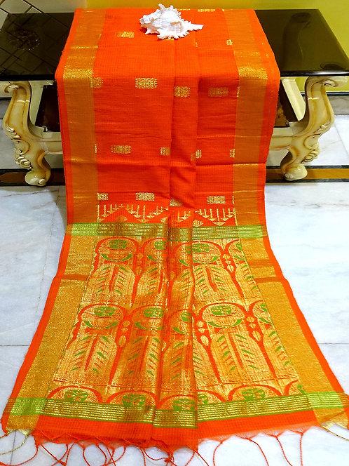 Self Kota Check Blended Cotton Banarasi Saree in Orange, Green and Gold