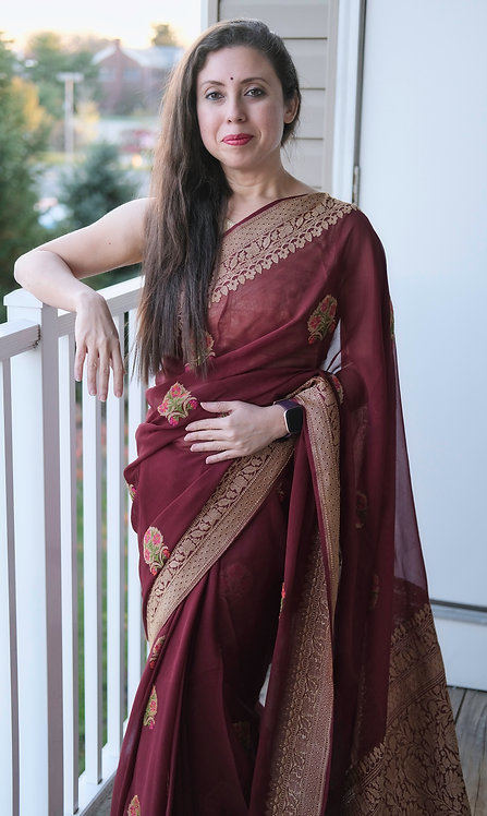 Mina Georgette Banarasi Saree in Maroon with Copper Zari