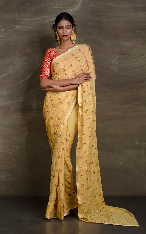 Crepe Silk Embroidery Saree in Sandy Yellow, Red and Gold