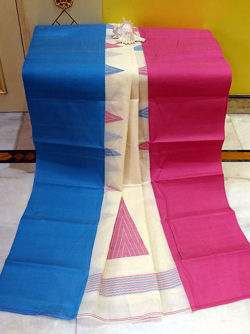 Bengal Handloom Cotton Saree with Starch in Off White, Pink and Blue