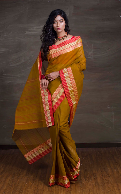 Bengal Handloom Cotton Saree in Brown, Red and Gold