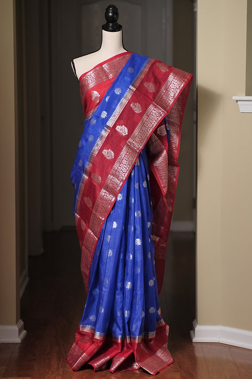 Semi Tissue Banarasi Saree with Wide Border in Royal Blue and Red