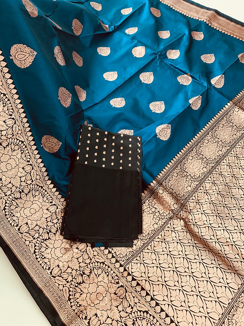 Pure Banarasi Katan Silk Saree in Prussian Blue, Black, Antique Gold