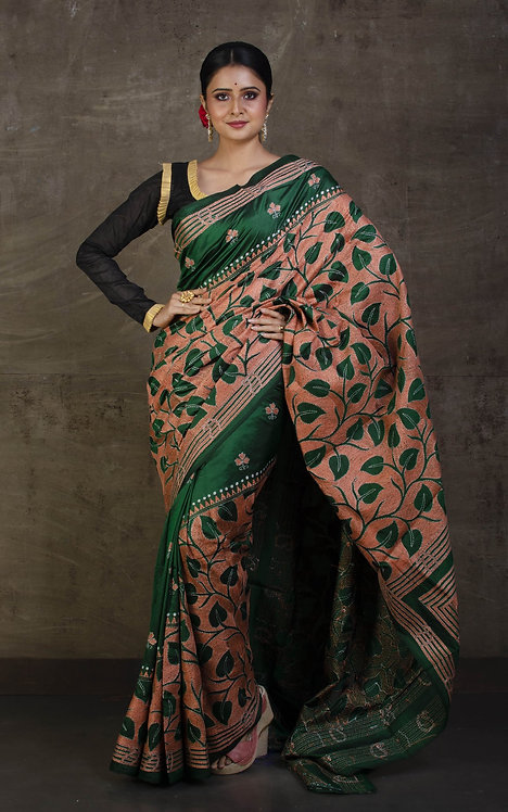 Hand Embroidery Kantha Stitch Saree on Pure Silk in Green, Off White and Brown