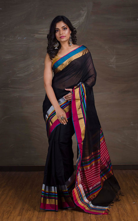 Maheshwari Silk Cotton Saree in Black, Blue and Magenta