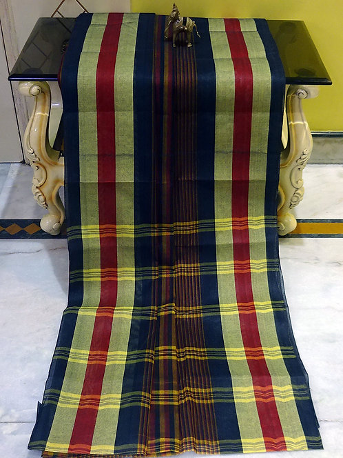 Bengal Handloom Cotton Saree with Starch in Multi-Color Horizontal Stripes