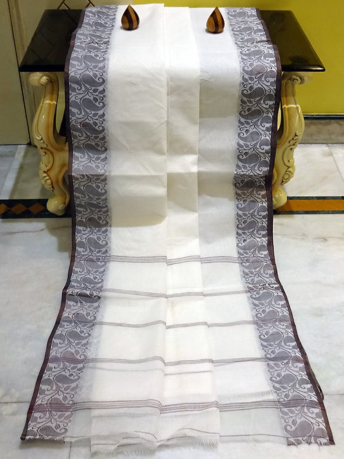 Bengal Handloom Cotton Saree with Starch in White and Brown