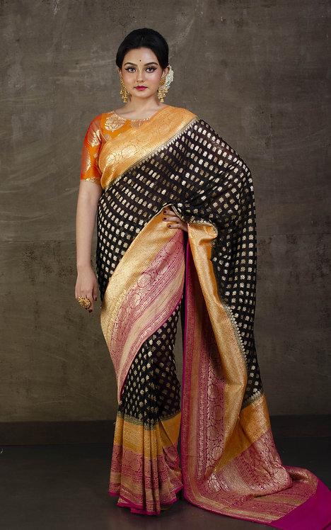 Pure Khaddi Georgette Banarasi Saree in Black, orange and Hot Pink