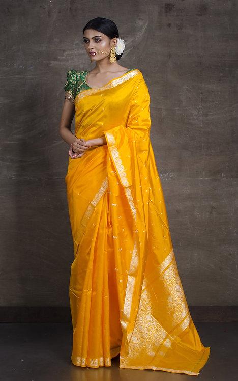Banarasi Katan Silk Saree with Woven Resham Thread in Yellow and Silver