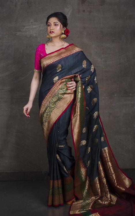 Dupion Tussar Banarasi Saree in Charcoal Black, Green and Red