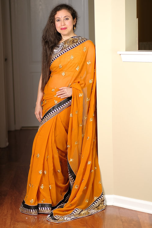 Georgette Embroidery Saree in Burnt Orange and Black