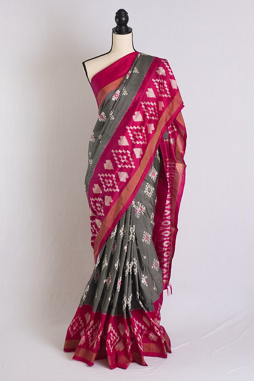 Pochampally Single Ikat Saree in Gray and Hot Pink