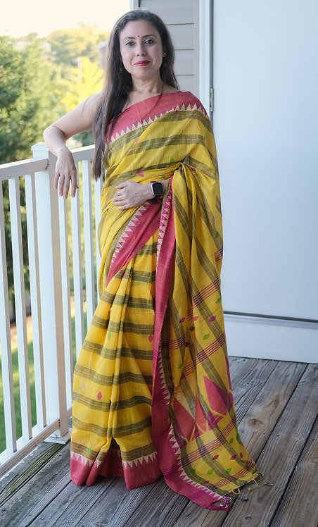 Khadi Soft Cotton Saree in Yellow, Black and Pink