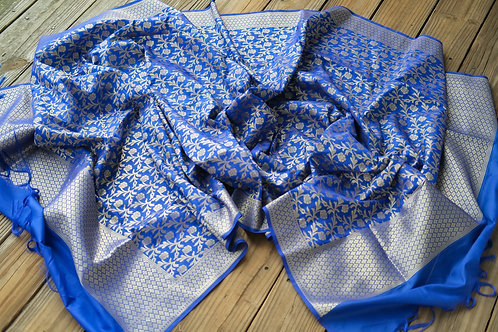 Banarasi Dupatta in Royal Blue and Gold