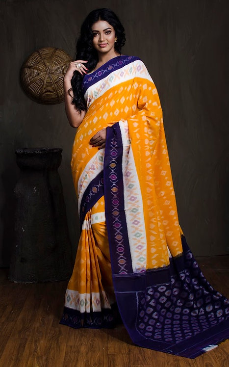 Mercerized Cotton Pochampally Saree in Yellow