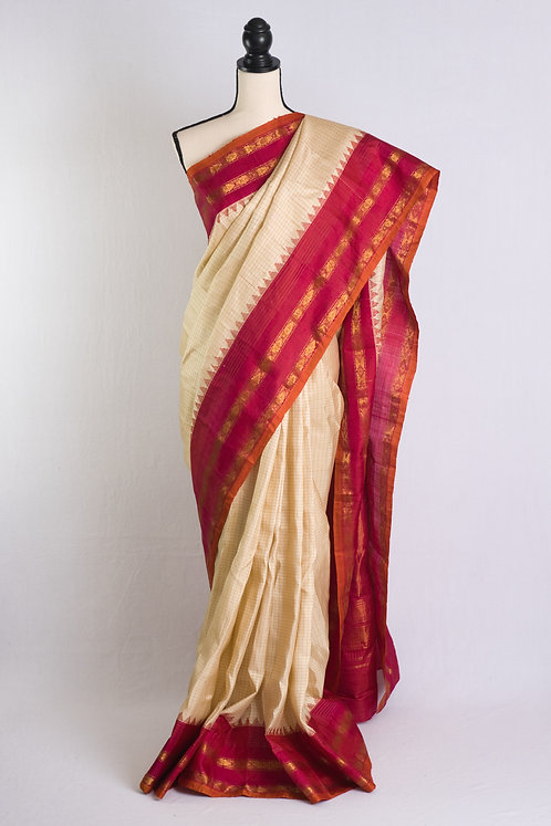 Zari Checks Pure Gadwal Silk Saree in Cream, Gold and Dark Pink