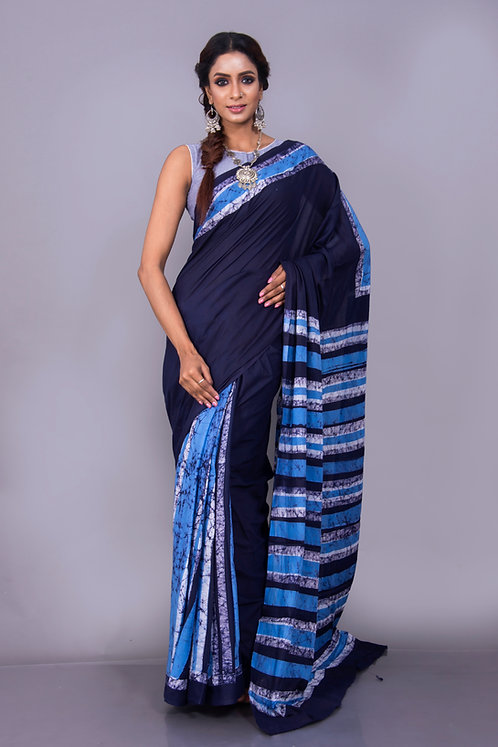 Hand Batik Cotton Indigo Saree in Blue
