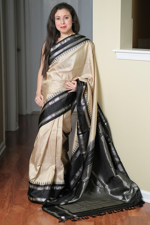 Gadwal Silk Saree with Micro Checks in Cream, Brown, Black and Silver