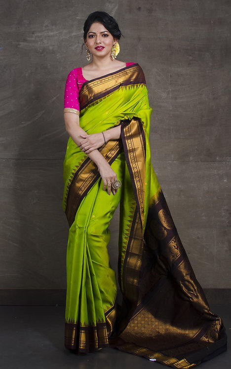 Gadwal Silk Saree in Lime Green and Snuff Brown