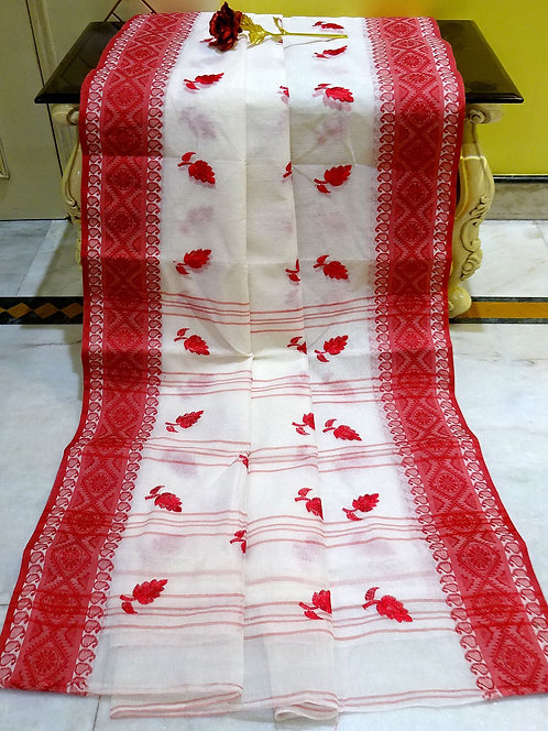 Bengal Handloom Cotton Embroidery Saree with Starch in White and Red