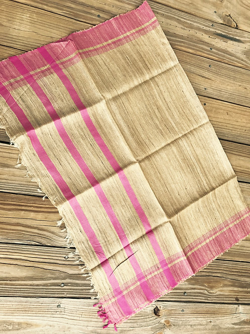 Handwoven Tussar Dupatta in Beige and Pink