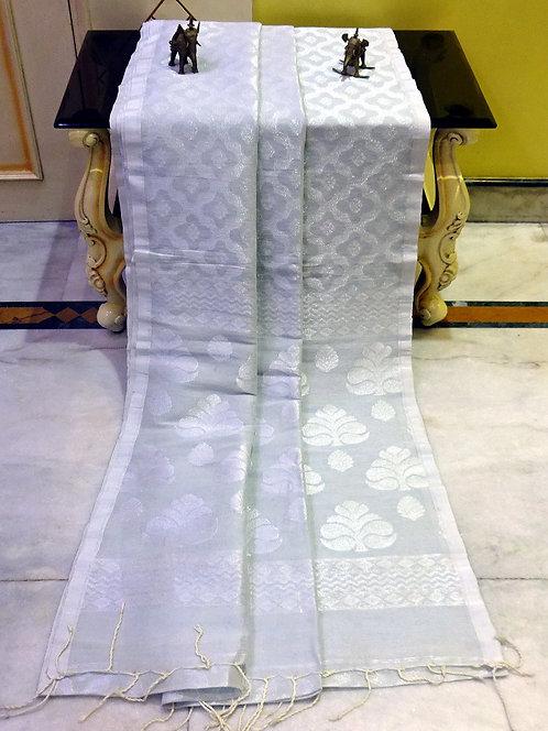 Jaal Work Linen Banarasi Saree in Bone White and Silver