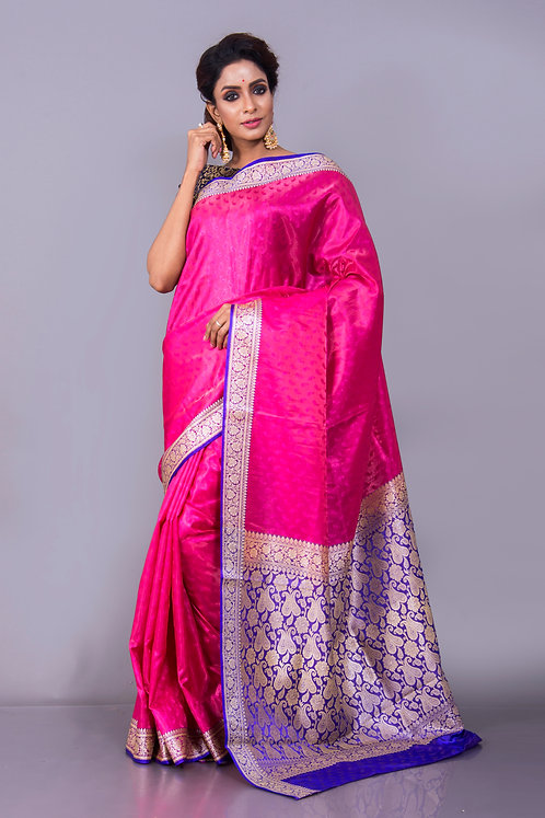 Art Silk Banarasi Saree in Pink and Purple