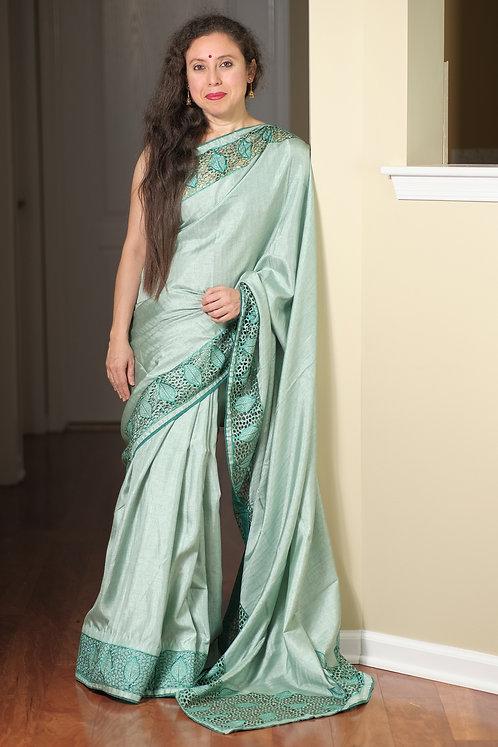 Semi Tussar Designer Cut Work Saree in English Blue