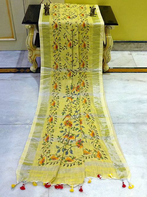 Printed Soft Woven Cotton Linen Saree in Pineapple Yellow and Silver