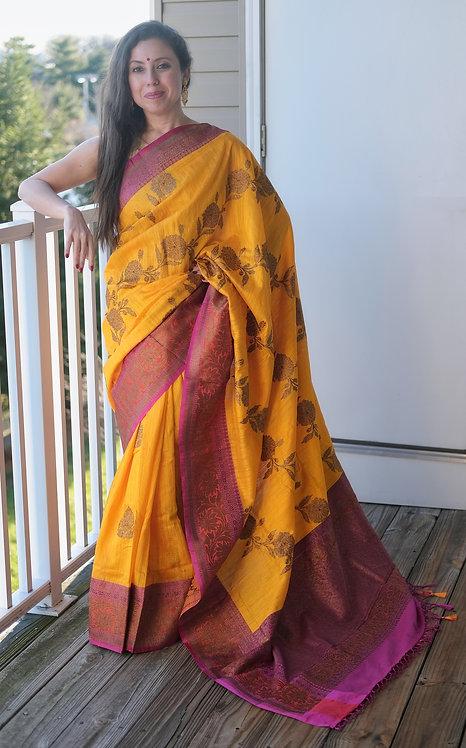 Pure Dupion Tussar Banarasi Saree in Turmeric Yellow, Pink and Orange