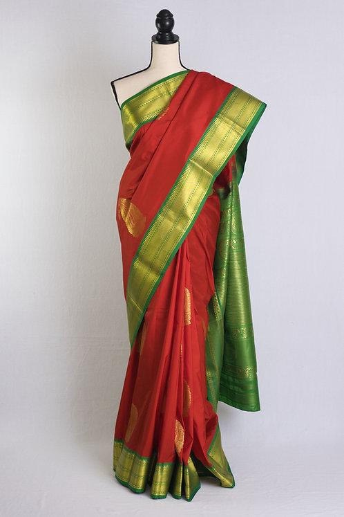 Art Silk Kanjivaram Saree in Red, Green and Gold