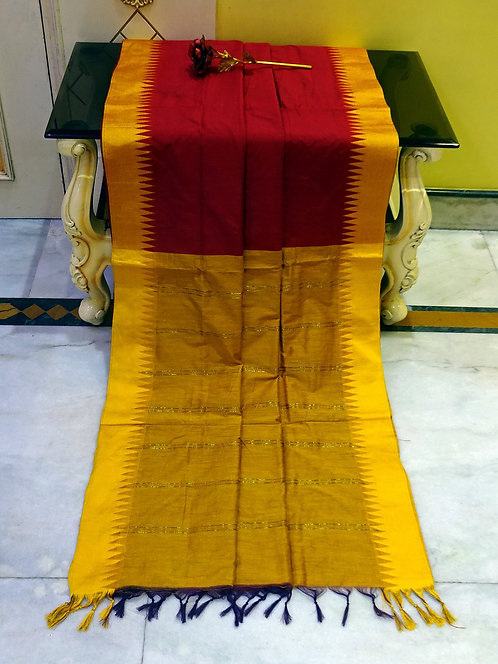 Soft South Cotton Gadwal Saree in Maroon and Golden Yellow