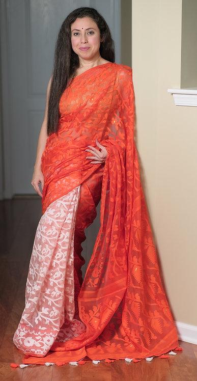 Half and Half Soft Jamdani Saree in Orange and White