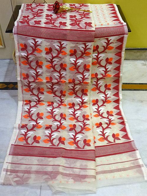 Skirt Border Jamdani Saree with Starch in Cream, Red and Orange