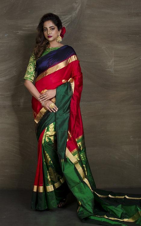 Patli Pallu Designer Pure Kanchipuram Silk Saree in Red, Blue and Green
