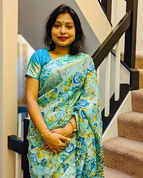 Naima from Maryland looking absolutely charming in a Kota Silk Saree with Satin Border in Sea Green from Bengal Looms