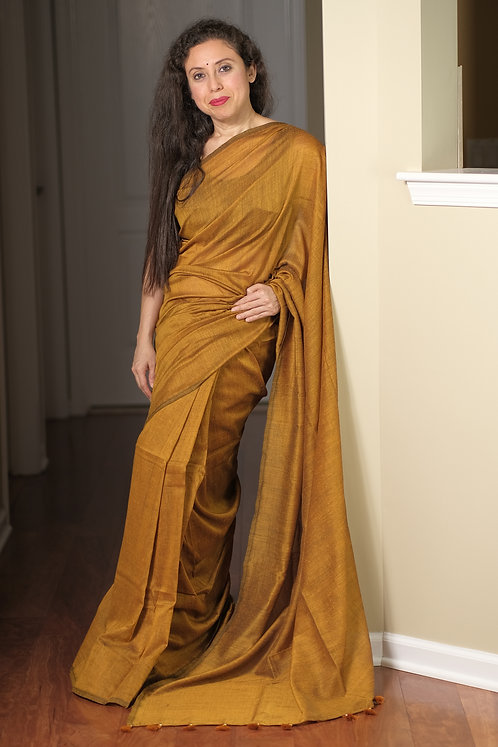 Soft Cotton Saree in Mustard Yellow