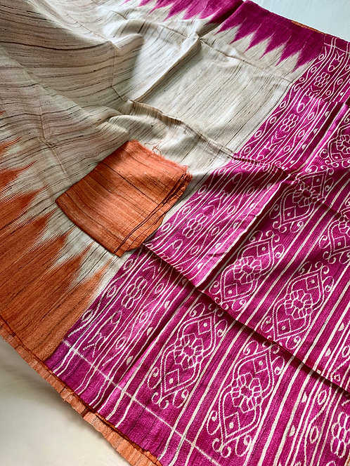 Temple Border Pure Gicha Tussar Silk Saree in Beige, Rust and Hot Pink