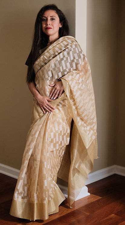Banarasi Kota Silk Saree in Beige and White