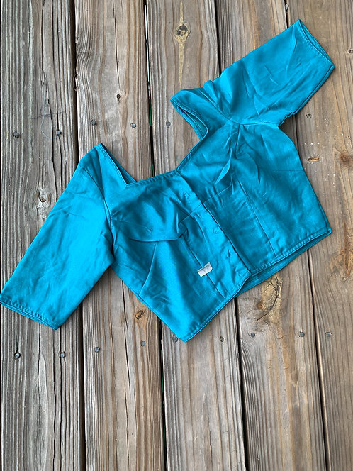Deep Turquoise Blue Designer Blouse in Size 40