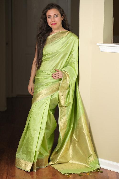 Pure Katan Banarasi Silk Saree in Light Green