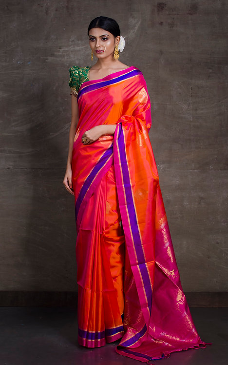 Soft Silk Kanchipuram Saree in Orange, Blue and Hot Pink